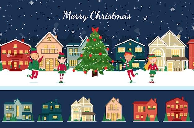 Зимний город с изолированными рождественскими домиками