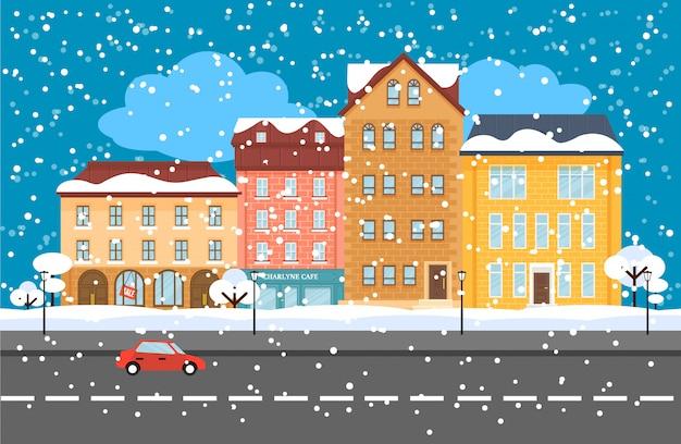 Зимний городской пейзаж плоский концепции