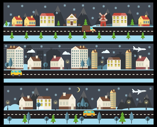 フラットスタイルの冬の街並み。冬に夜の街を設定します。