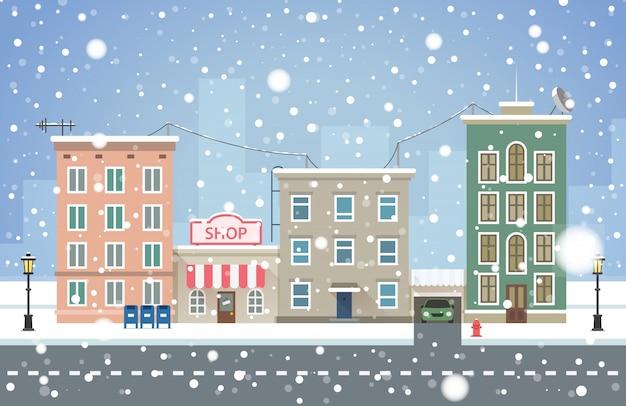 冬の街並み。小さな町の降雪。