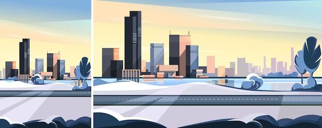 道路と湖のある冬の街並み。さまざまな形式の美しい都会のシーン。