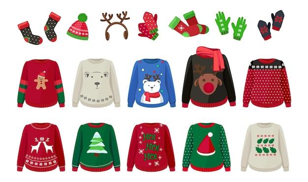 Зимняя ткань. уродливые свитера, шапки, варежки и носки. симпатичные рождественские теплые одежда и аксессуары векторные иллюстрации. свитер новогодний, зимние варежки и одежда