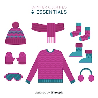 Winter clothes essentials background