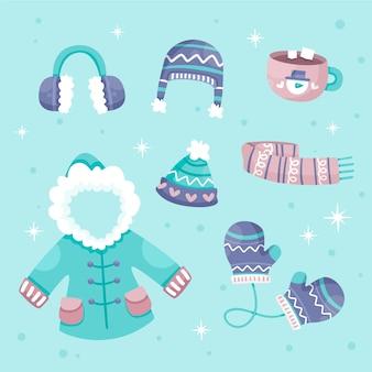평평한 디자인의 겨울 옷 및 필수품