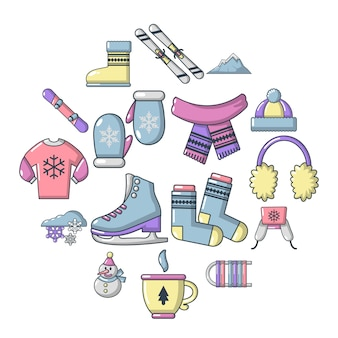 Набор иконок зимней одежды, мультяшном стиле Premium векторы