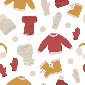 Winter clothes seamless pattern.
