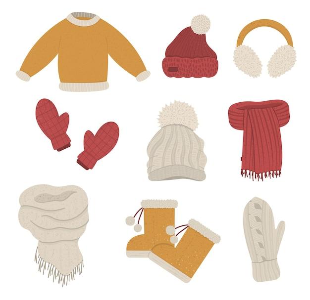 冬服セット。寒い季節の衣料品のコレクション。ニットの暖かいセーター、帽子、手袋、スカーフ、ブーツのフラットなイラスト。