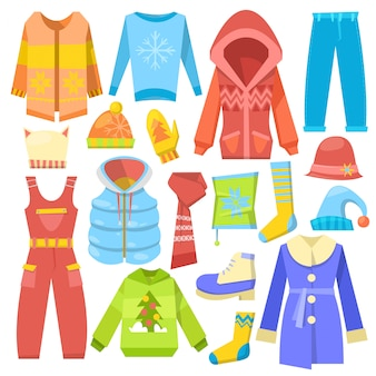 Winter clothes  warm clothing sweater or coat with scarf and hat in wintertime illustration set of boot and outerwear isolated on white background