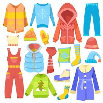 겨울 옷 따뜻한 의류 스웨터 또는 부팅 및 겉옷의 겨울 그림 세트 스카프와 모자와 코트 흰색 배경에 고립