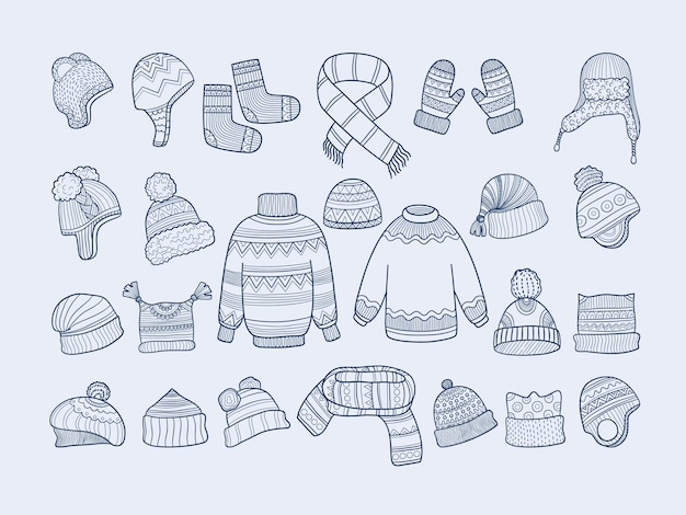 Winter clothes. xmas fashion hat mittens socks sweater scarf collection. socks clothes, mittens and hat illustration