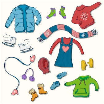 Winter clothing set of vector illustrations