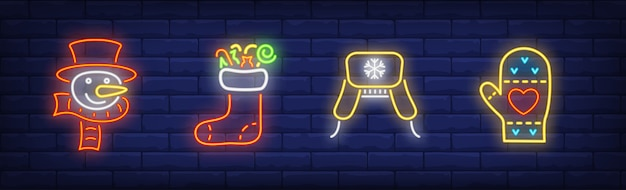 Winter clothing symbols set in neon style with mitten