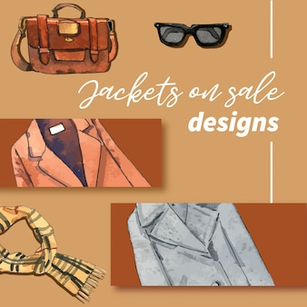 Winter cloths and accessories illustration
