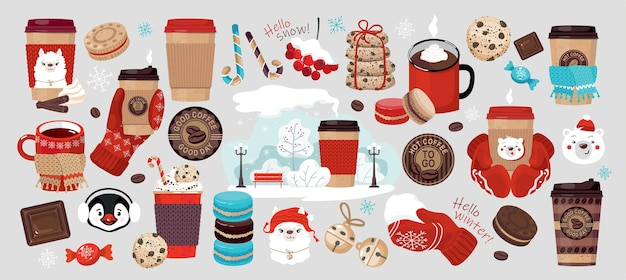 Winter coffee to go set: paper cups, snowflakes, mittens, cookies.