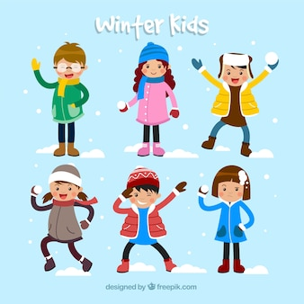 Winter collection of children playing snowballs and having fun