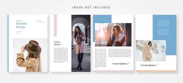 冬のコレクションのファッションパンフレットのデザインテンプレート
