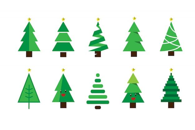 겨울 화려한 만화 크리스마스 트리 벡터 설정합니다.