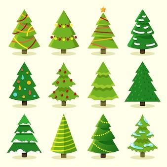 Winter colorful cartoon christmas tree vector set