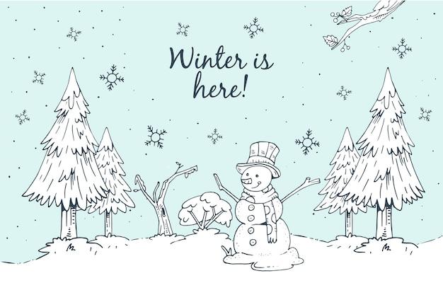Winter concept in hand drawn