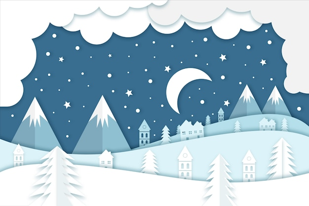 Winter concept in paper style