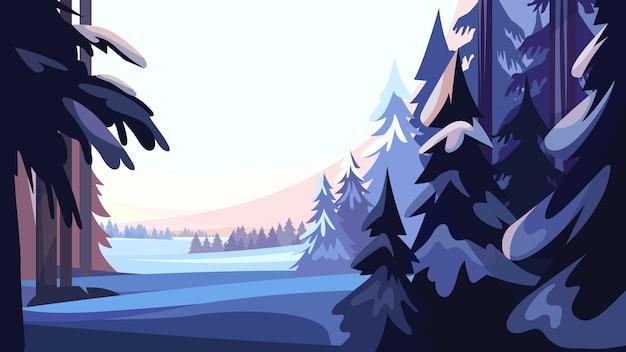 Зимний хвойный лес. красивые пейзажи природы.