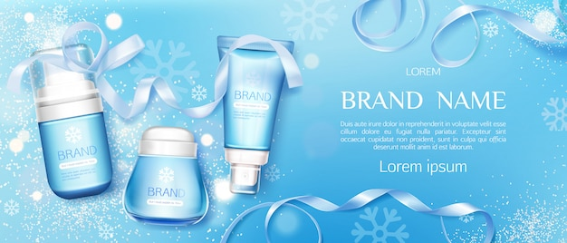Winter cosmetic tubes and cream jar  line