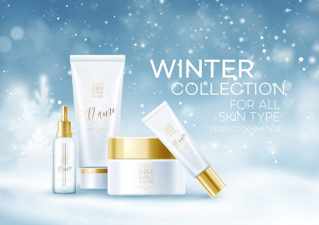 Winter cosmetics background template. cosmetic tubes on winter snowy landscape background. snow dust background.