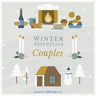 冬のカップルアイコンセット