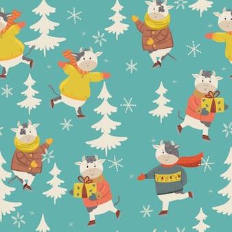 Winter cow skating seamless pattern.