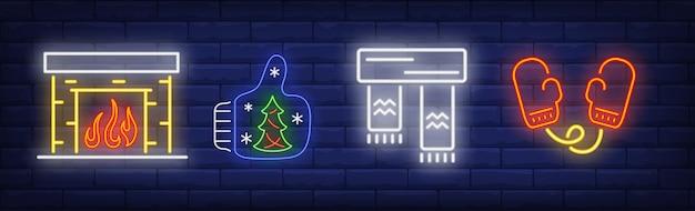 Winter coziness symbols set in neon style