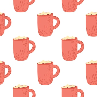 Winter cozy seamless pattern with hot chocolate cup ornament. pink print on white background. great for fabric design, textile print, wrapping