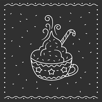 Зимняя чашка горячего шоколада или какао с зефиром. милая чашка с орнаментом снежинка. штриховая графика