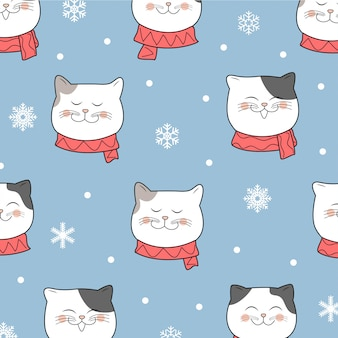 Winter cute cat christmas pattern