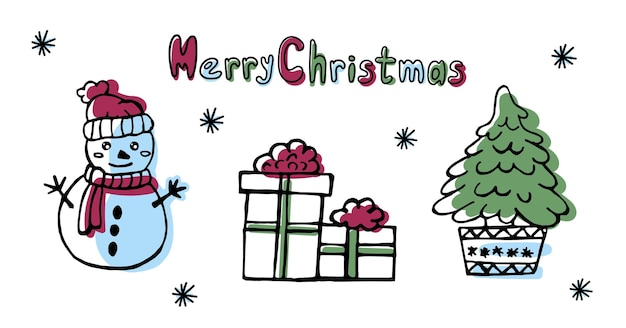 Winter cute doodle illustrations