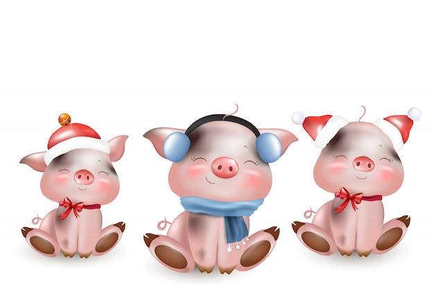 冬のかわいい子豚