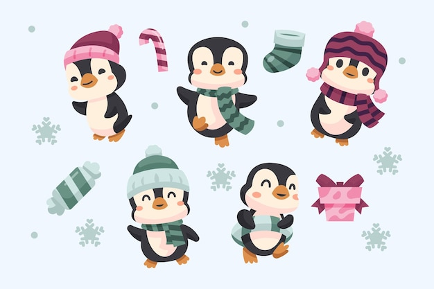 Winter cute penguin collection theme