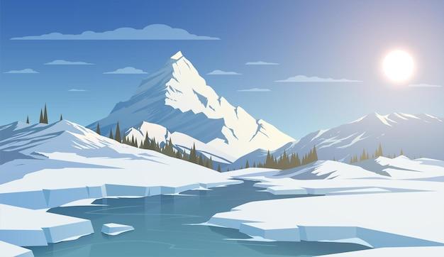 Зимний дневной пейзаж с горами