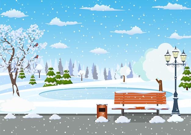 冬の日の公園のシーン。
