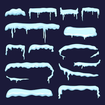 Winter decoration from snow caps and frozen icicles. vector snowcap winter design to xmas style illustration