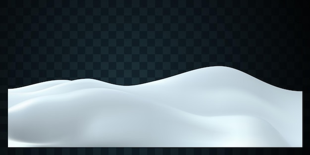 Winter decoration of snowy hills landscape isolated on dark transparent background