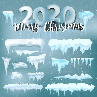 Winter decorations, christmas, snow texture, white elements holiday vector snow