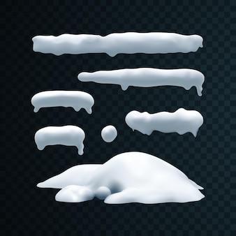 透明な背景に分離された雪のキャップのつらら雪玉と雪の吹きだまりの冬の装飾