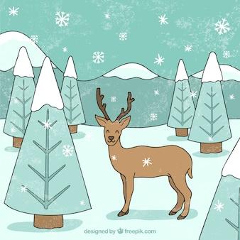 Disegno invernale con cervi