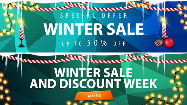 Winter discount banners with polygonal background, garlands and icicles