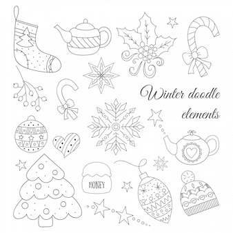 Winter doodle elements set with tree, tea pot, toys, candies, hat, sock