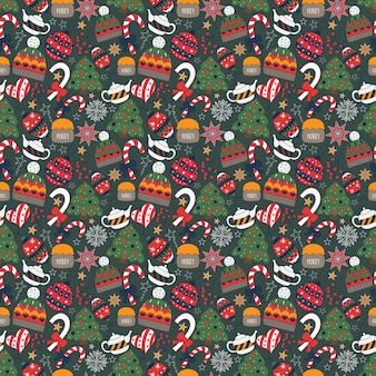 Winter doodle seamless pattern with tree, tea pot, toys, candies, hat.