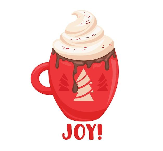 モミの木のデザインと赤いカップの冬の飲み物