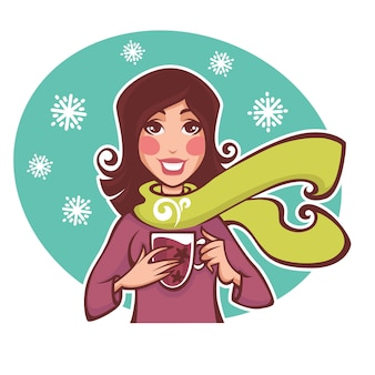 Winter drink, vector illustration in cartoon style