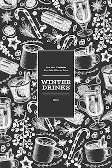 Winter drinks  banner template. hand drawn engraved style mulled wine, hot chocolate, spices illustrations on chalk board. vintage christmas background.