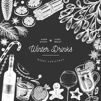 Winter drinks  banner template. hand drawn engraved style mulled wine, hot chocolate, spices illustrations on chalk board. vintage christmas .
